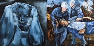 Fred Kleinberg «Sous le ciel de Calais» 2017, Huile sur toile, 200x400 cm - Production sonore en collaboration avec François-Régis Matuszenski