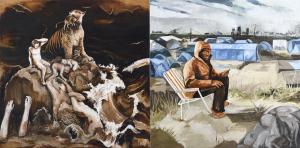 Fred Kleinberg «Le chant d'Amar, Mossoul» 2017, Huile sur toile, 200x400 cm - Production sonore en collaboration avec François-Régis Matuszenski
