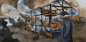 Fred Kleinberg «Le démantèlement, Calais» 2017, Huile sur toile, 200x400 cm - Production sonore en collaboration avec François-Régis Matuszenski