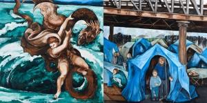 Fred Kleinberg  « De charybde en scylla » 2017,  Huile sur toile, 200x400 cm. Production sonore en collaboration avec François-Régis Matuszenski