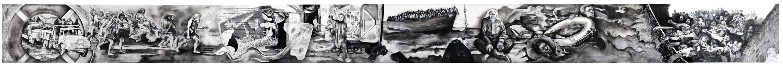 Fred Kleinberg «Odyssée» Fresque en noir et blanc, pastel sur papier Moulin du Gués,130cm x18000 cm, 2017. Production sonore en collaboration avec François-Régis Matuszenski